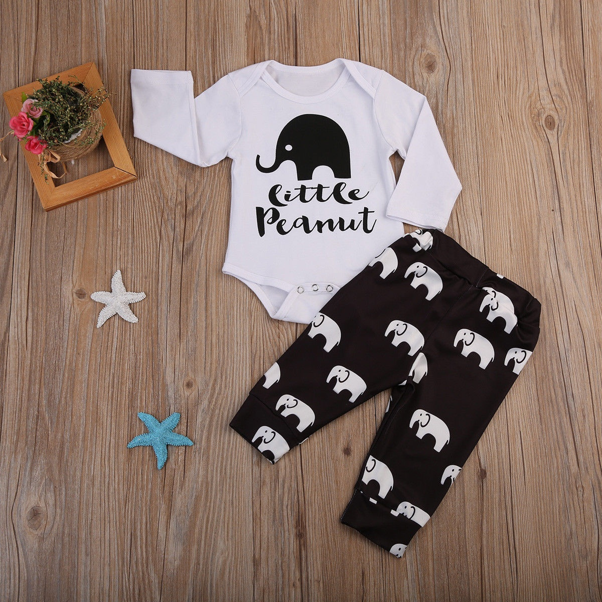 Newborn Infant Baby Boys Girls Little Peanut Romper Long Pants Outfits Clothes