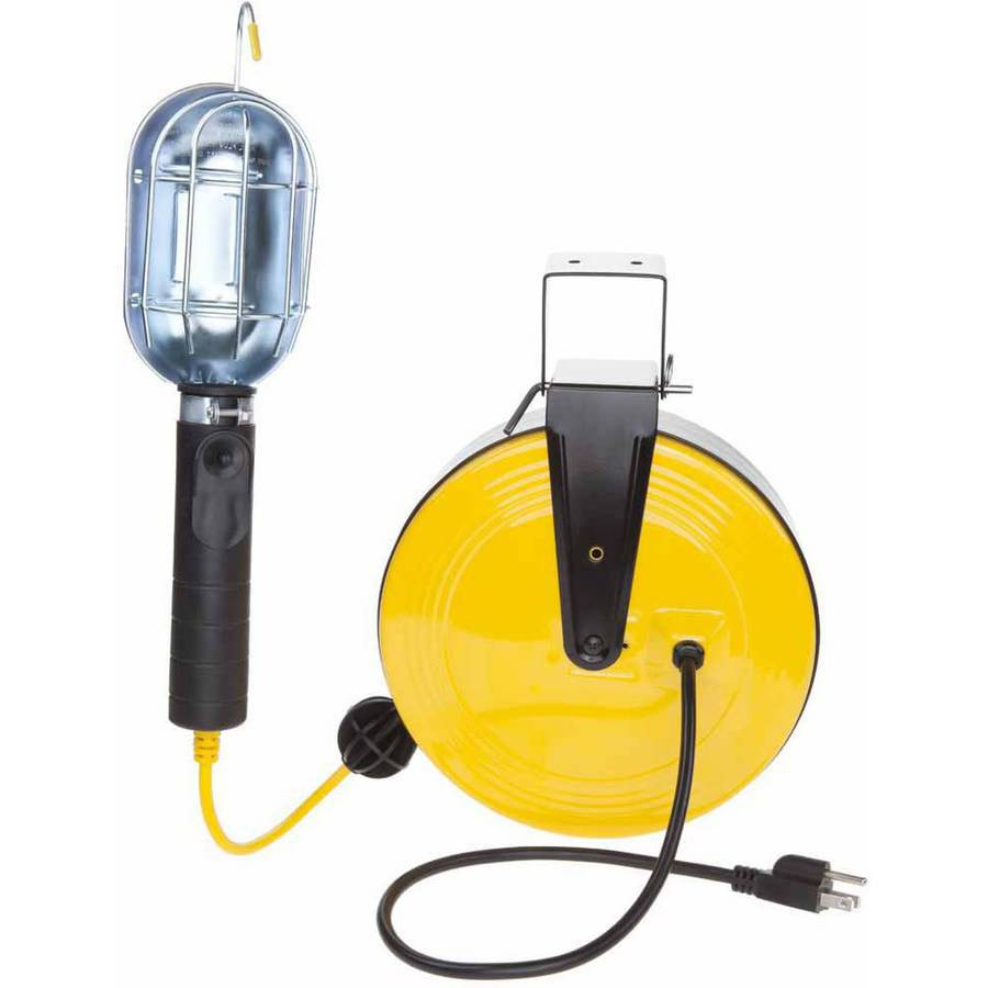 Bayco SL-851 Professional Series Metal Shield Incandescent Utility Light on 50 Foot Metal Reel