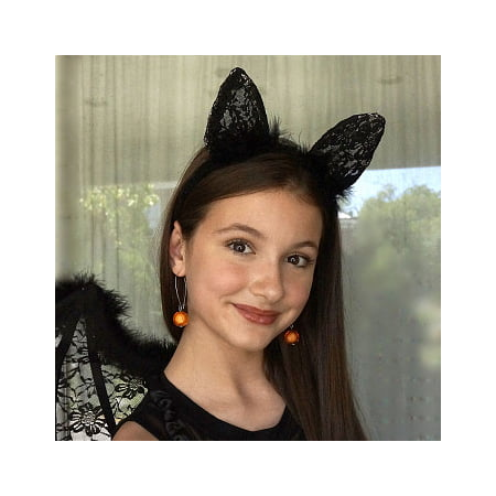 Black Cat Marvel Cosplay Costume (ZUCKER Black Feather and Lace Cat Ears Headband - Cute Halloween, Cosplay, Dress-Up Costume Hair)