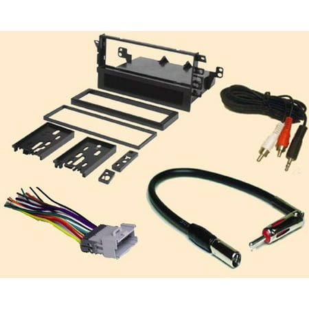 radio stereo install single din dash kit + wire harness + antenna adapter  for chevy chevrolet tracker 2000 2001 2002 2003 2004 and suzuki grand  vitara 00 01