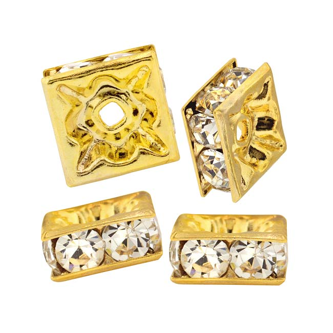 Beadelle Crystal 6mm Squaredelle Spacer Beads - Gold Plated / Crystal (4 Pieces)