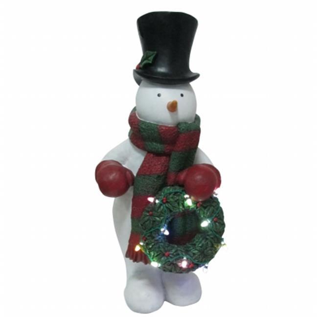 24 in. LED Snowman Holding Wreath Light Up Lawn Decoration - image 1 de 1