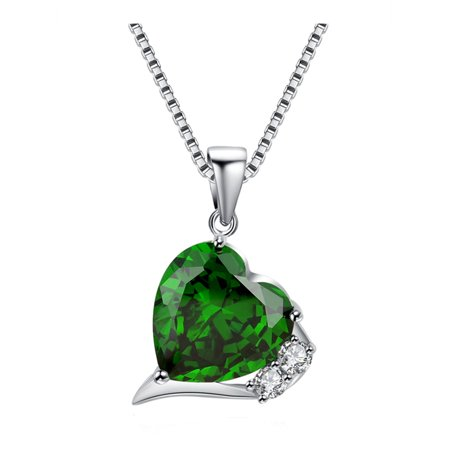 6.06 Carat TCW Heart Cut Gemstone Created Emerald 925 Sterling Silver Necklace Pendant with free 18 Chain