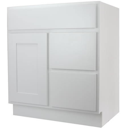 Cabinet Mania White Shaker 30 Inch Bathroom Vanity With Right Drawers