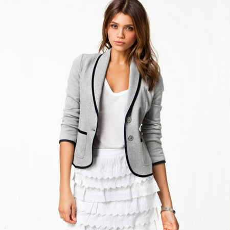 Utility Blazer - Womens Long Sleeve Casual Suit Coats Jacket Slim Fitted Blazer Tops Outerwear Cardigan Lapel