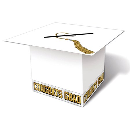Morris Costumes Party Supplies Graduation Cap Card Box White, Style BG57393W](Graduation Party Card Box)