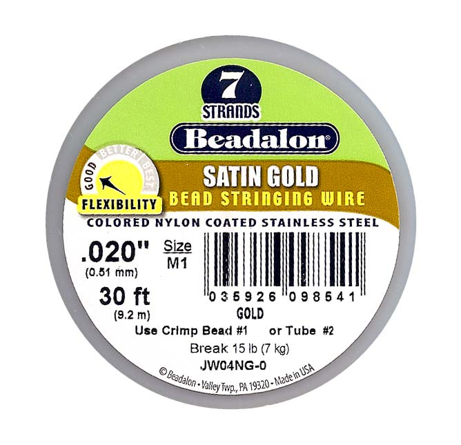 Beadalon Wire Satin Gold 7 Strand .020 Inch / 30Ft