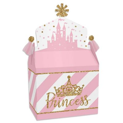 Little Princess Baby Shower Decorations (Little Princess Crown - Treat Box Party Favors - Pink and Gold Princess Baby Shower or Birthday Party Goodie Gable Boxes - Set of)