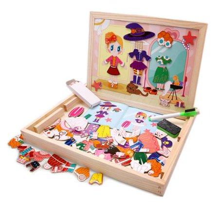 Magnetic Jigsaw Puzzle Toddler Toys, Multifunctional Wooden Drawing Easel Double Sided with Dry Erase Board & Chalkboard Perfect Educational Toy for Kids