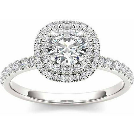 1 Carat T.W. Diamond Double Halo 14kt White Gold Engagement Ring