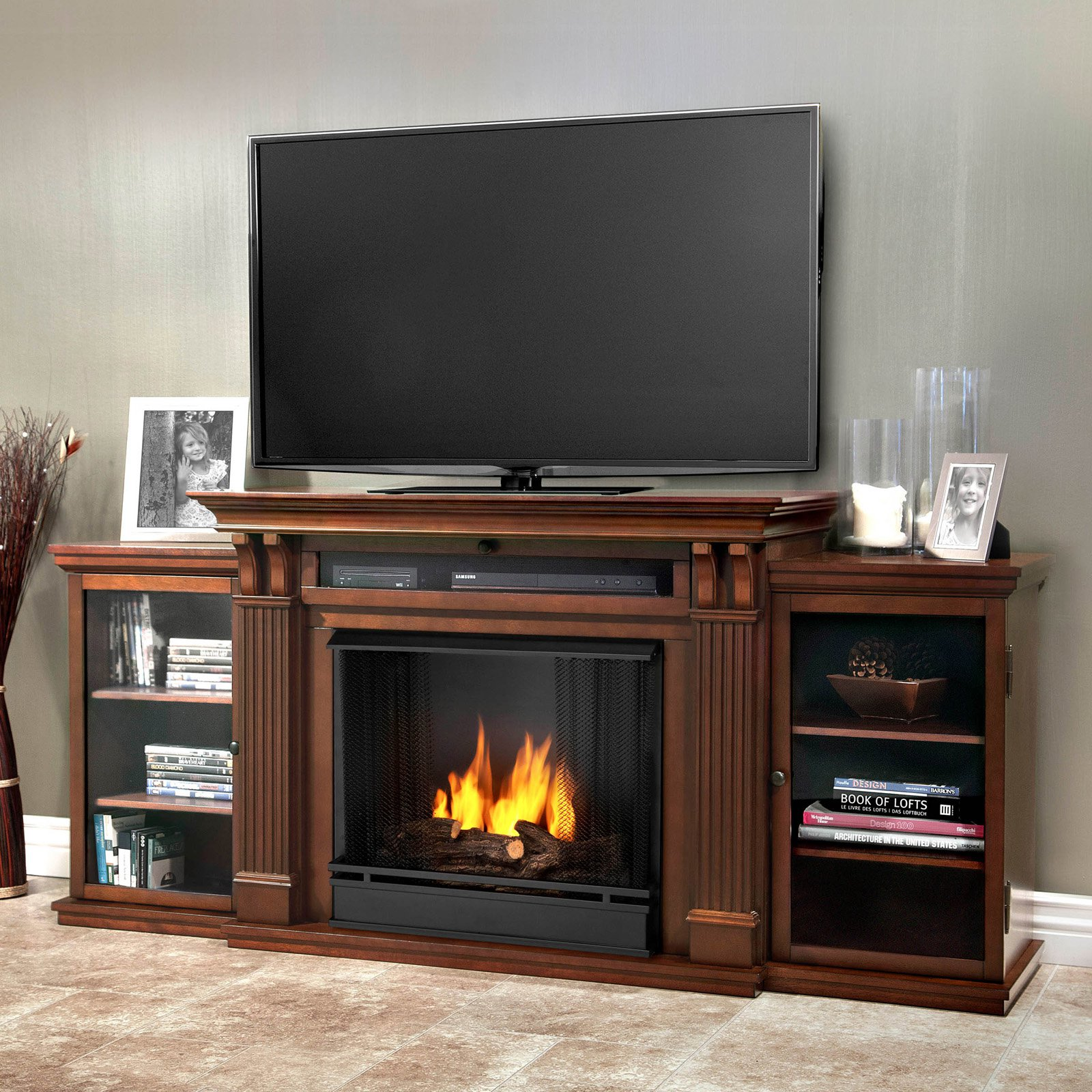 Real Flame Calie Entertainment Center Ventless Gel Fireplace Dark