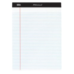 "Office Depot® Brand Professional Legal Pad, 8 1/2"" x 11 3/4"", Narrow Ruled, 200 Pages (100 Sheets), White, Pack Of 4"