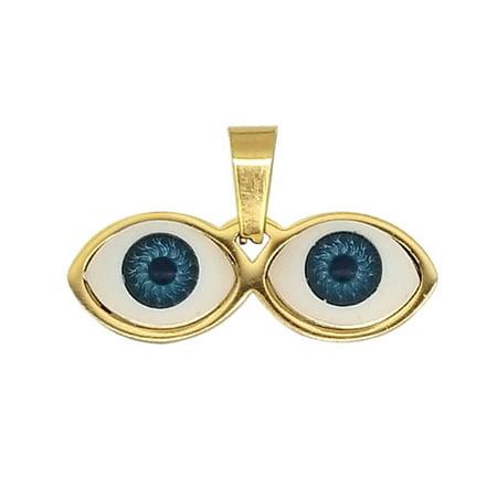 14kt Eyes Saint Lucky Pendant Gold Stainless Steel - Ojitos De Santa Lucia Dije Para Proteccion Dorado Acero Quirurgico](Saint Lucia Day)