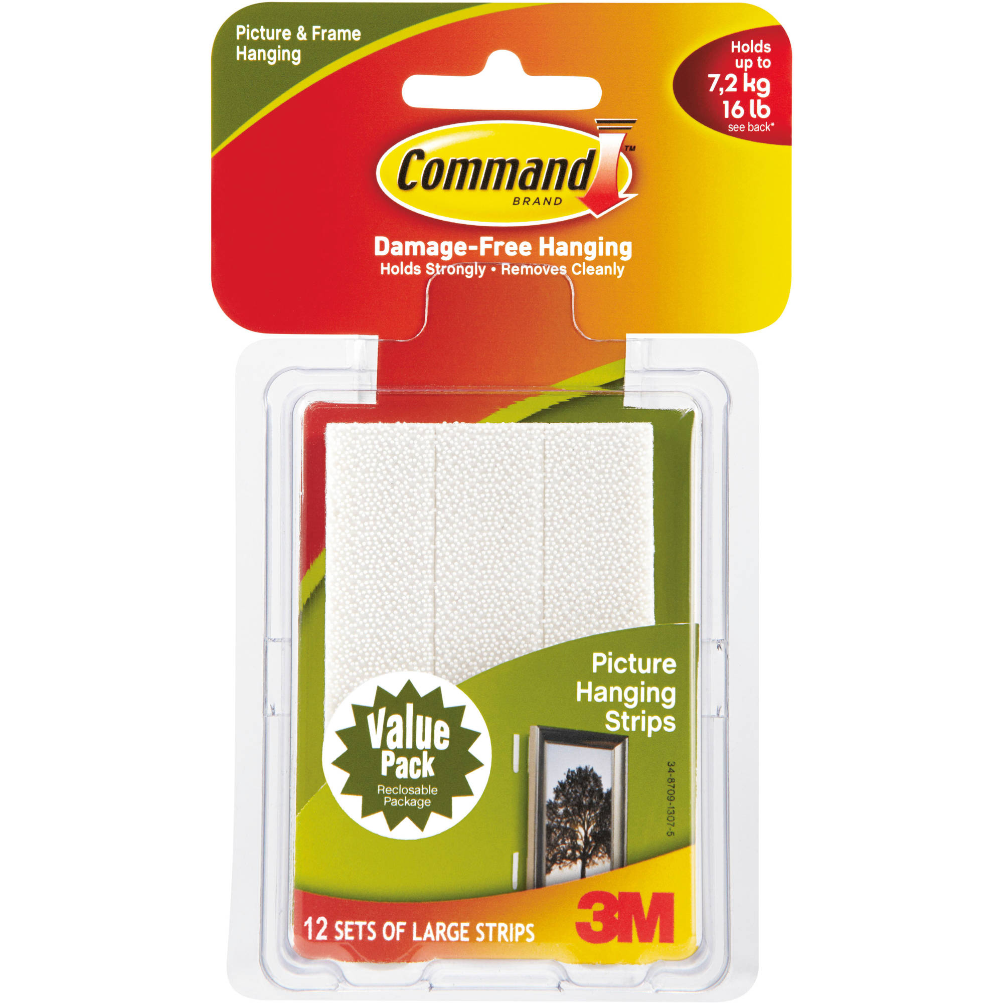 Command Picture Hanging Strips, White, Large, 12 Sets of Strips/Pack