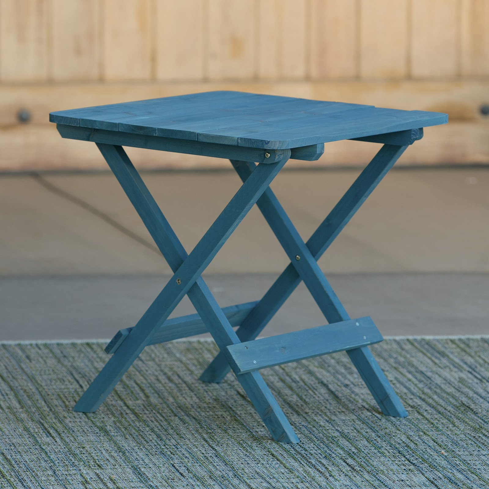 Coral Coast Big Daddy Patio Folding Side Table Blue Stain by