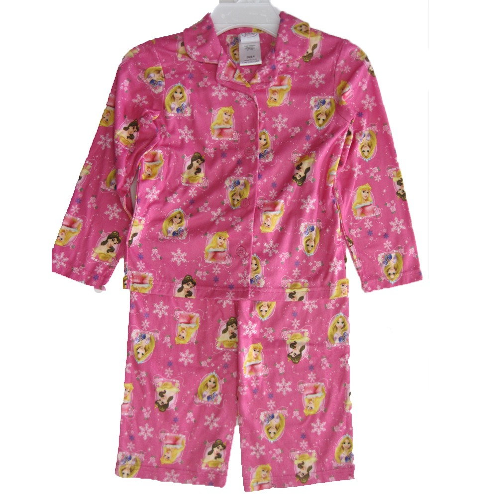 Disney Girls Fuchsia Princesses Images All-Over 2 Pc Pajama Set 8