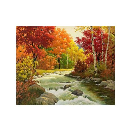 Vivid Autumn Forest Patterns DIY Cross-stitch of Diamond Printed 5D Full Rhinestone Paintings for Home