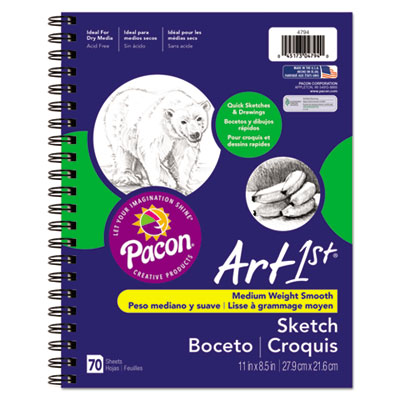 Art1st Sketch Diary, 11 x 8 1/2, 60 lb, 70 Sheets, White, Sold as 1 Each