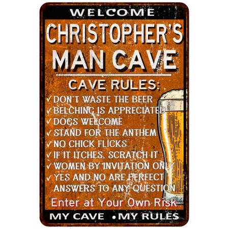 CHRISTOPHER'S Man Cave Rules Rusty Metal Beer Sign Home Wall Décor 108120051501