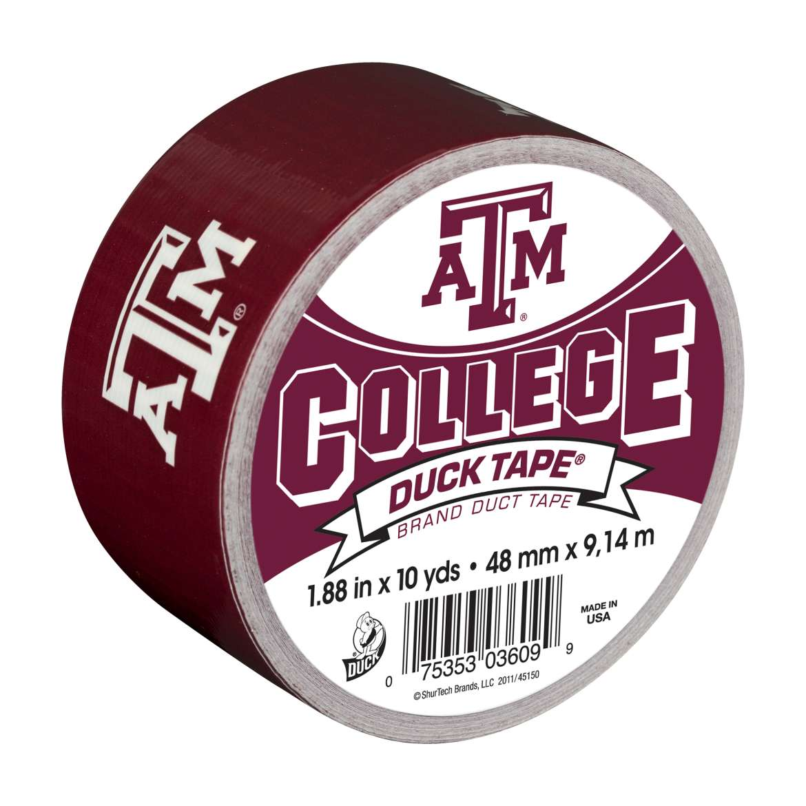 "Duck Brand College Logo Duck Tape, 1.88"" x 10 yard, Texas A&M Aggies"