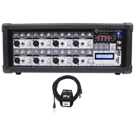 Rockville RPM85 2400w Powered 8-Ch Mixer, 5 Band EQ, FX/Bluetooth + Peavey Cable ()