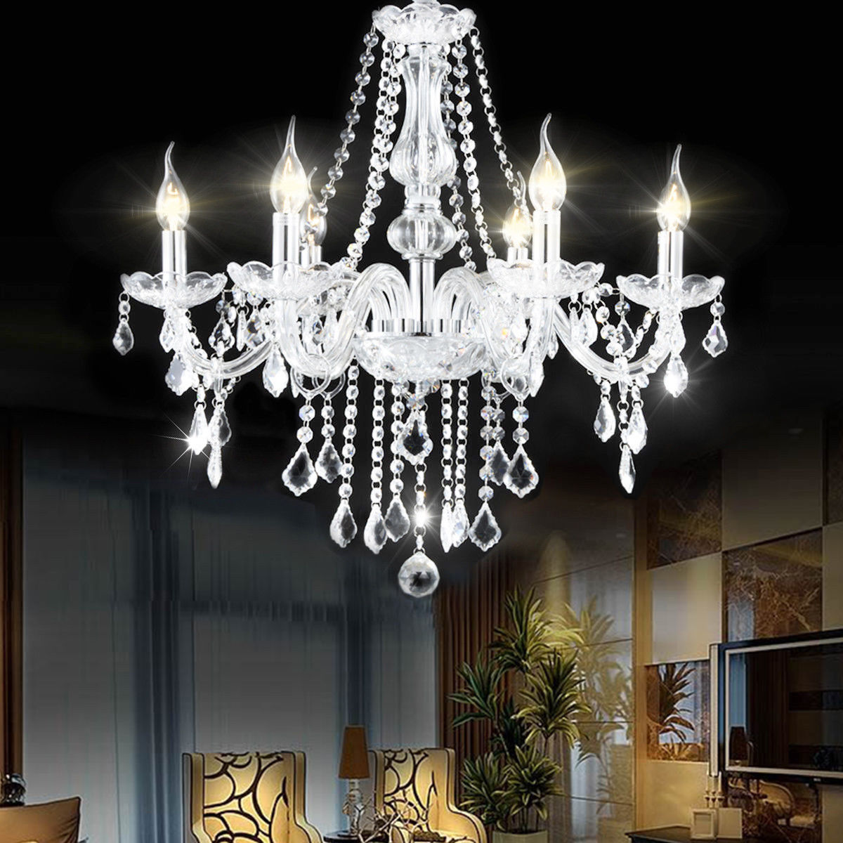 Costway Elegant Crystal Chandelier Modern 6 Ceiling Light Lamp Pendant Fixture Lighting