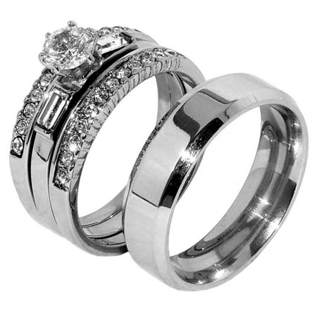 His Hers Couple 4 PCS Womens Bridal Ring Set Mens Flat Steel Band- Size W5M7 (Nerdy Couple Rings)