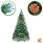 Strong Camel Snow Tipped Christmas Tree with Pine Cones and Steel Stand -Unlit (5' with 446 Tips and 23 pinecones)New Xmas Holiday Decoration
