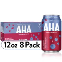 AHA Sparkling Water, Blueberry Pomegranate Flavored Water, Zero Calories, Sodium Free, No Sweeteners, 12 fl oz, 8 Pack