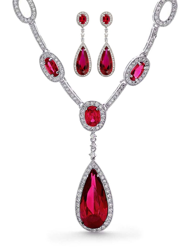 Simulated Ruby and Cubic Zirconia Teardrop Wedding Set Rhodium Plated by Bling Jewelry