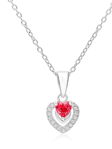 """Sterling Silver Halo Heart Pendant with CZ and Simulated Ruby July Birthstone with 18"""" Chain"""