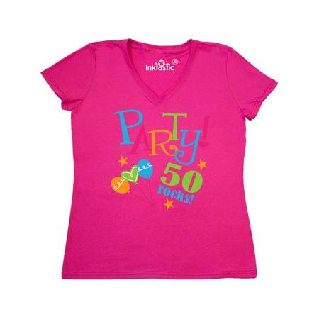 50th Birthday Party Gift Womens V Neck T Shirt
