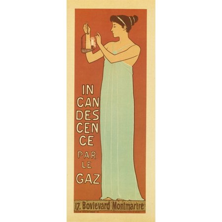 Elegant art nouveau woman holds up a lamp and lights it  Ralier Maurice Dumas is a painter and poster artist French near among others the movement of the Art Nouveau Poster Print by Maurice Realier-Du