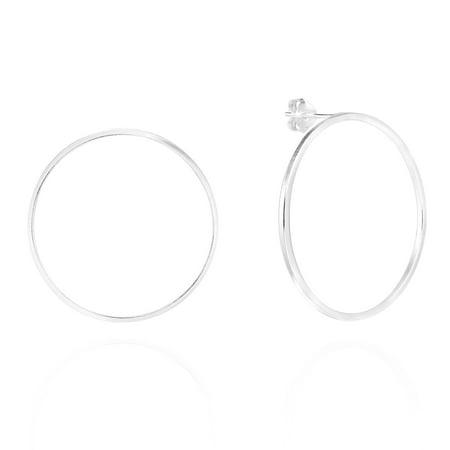 Trendy 35 mm Open Circle .925 Sterling Silver Stud Earrings