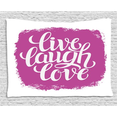 Live Laugh Love Decor Tapestry, Motivational Lifestyle Typography on ...
