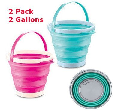 Collapsible Pail - Top Race Foldable Pail Bucket Silicone Collapsible Bucket Multi Purpose 7 Liter, 2 Gallons (Pack of 2)