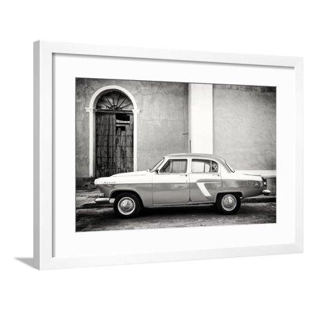 Classic Flame Santa - Cuba Fuerte Collection B&W - Old Classic Car in Santa Clara Framed Print Wall Art By Philippe Hugonnard