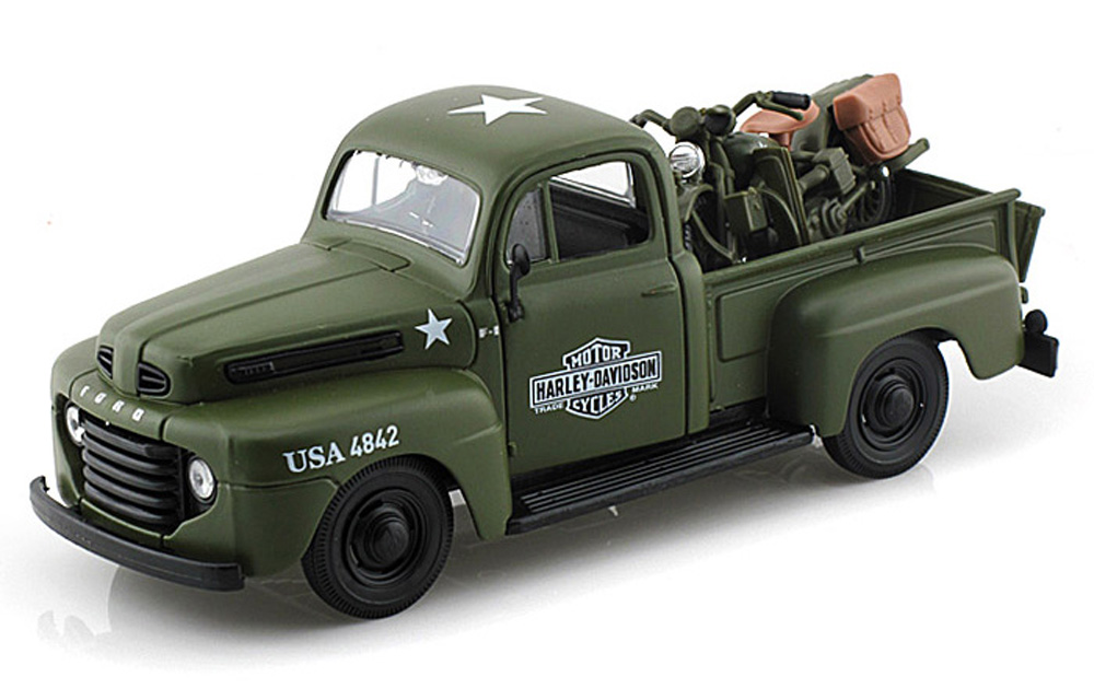 1948 1942 Ford F-1 Pickup Harley-Davidson   WLA Flathead Motorcycle, Green Army Maisto HD... by Maisto