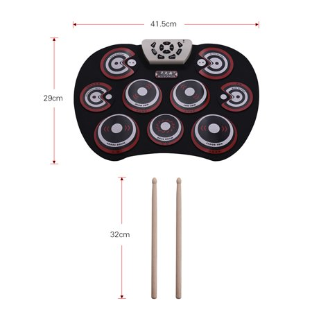 Electronic Drum Pad USB Cable Foldable Roll Up Digital Drum Set with Drumsticks Double Foot Pedals Percussion Instrument Drumpad for Kids Beginners Professionals - image 4 of 6