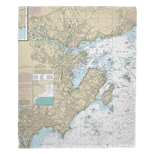 Breakwater Bay Martini Marblehead Salem MA Nautical Chart Throw