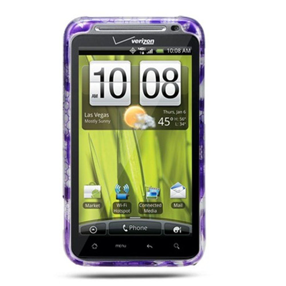 Insten Hard Case w/stand For HTC ThunderBolt 4G - Purple/White - image 1 de 2