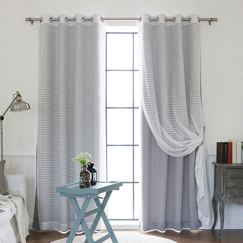 Grey Sheer and Solid 84 x 52 In. Blackout Window Treatments, Set of Four