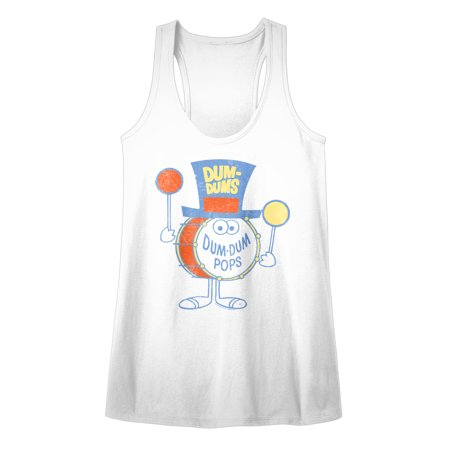 Dum Dums Sugar Candy Lollipop Drumman 2 Drum Popsticks Womens Tank Top Tee