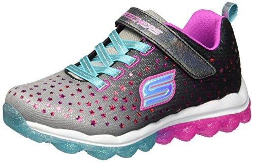 Skechers Kids Girls' Skech-Air-Star Jumper Sneaker,Black/Purple/Turquoise,4.5 Medium US Big Kid