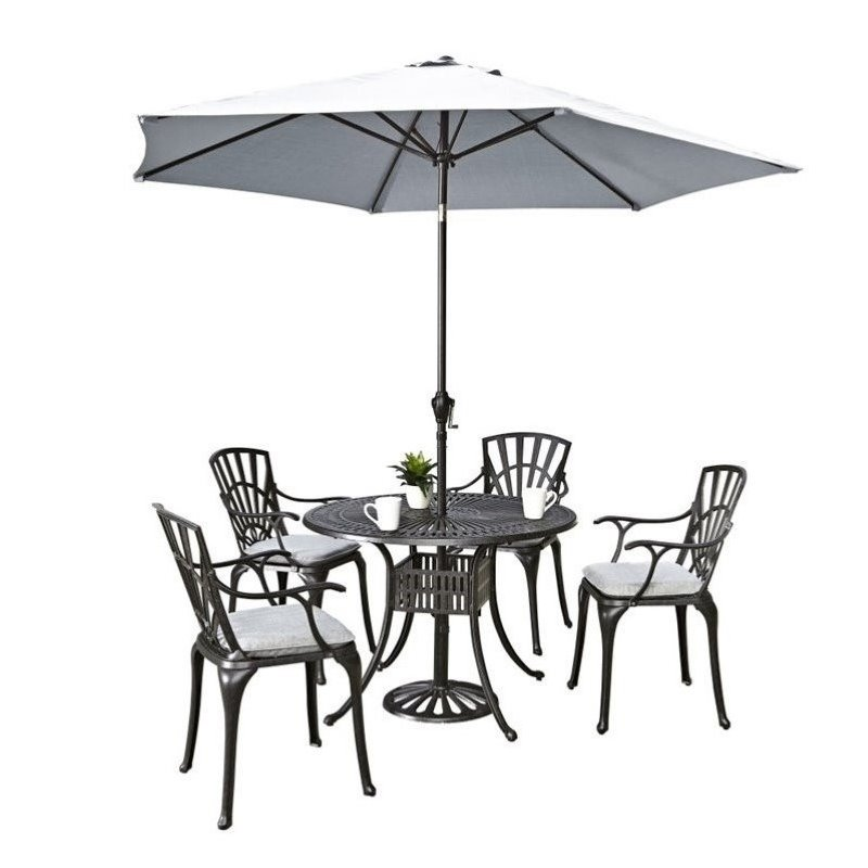 Hawthorne Collections 6 Piece Patio Dining Set with Umbrella