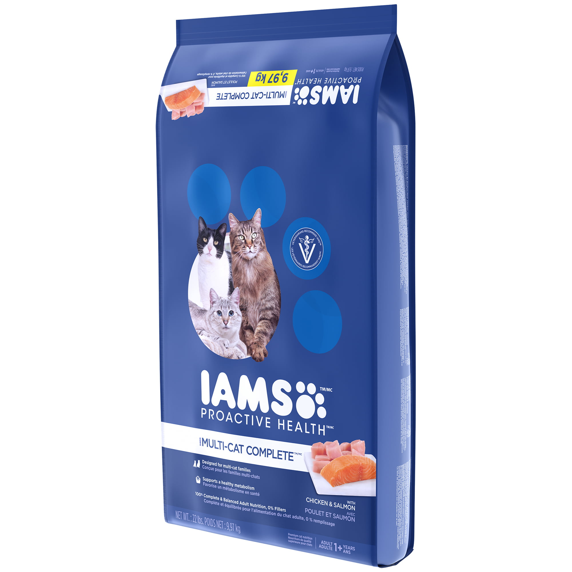 Iams proactive health multi-cat complete with salmon and chicken dry cat  food, 22 lb - Walmart.com