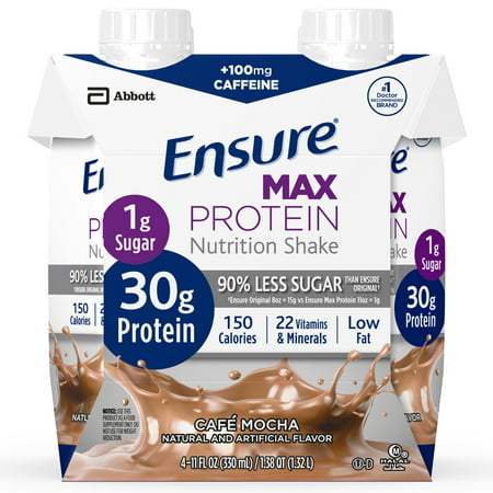 (Ensure Max Protein Nutrition Shake with 30 g of protein, 1 g of sugar, Nutrition Shake, Cafe Mocha, 11 fl oz, 12 Count)