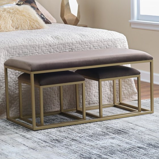 Fabulous Belham Living Nova Nesting Bench And Ottomans Onthecornerstone Fun Painted Chair Ideas Images Onthecornerstoneorg