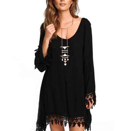 Girl Plus Size Tassel Edge Long Sleeve Black Sexy Dress Loose Chiffon Short Dress