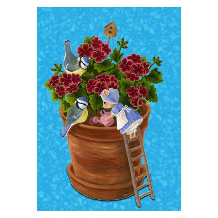 Toland Home Garden Mouse Garden Flag Add charm and whimsy to your garden or yard with the Toland Home Garden Mouse Garden Flag. This garden flag features a darling mouse watering a pot of flowers in rich, vibrant color. It's made of weather-resistant polyester and is machine washable for your convenience. Toland Home Garden